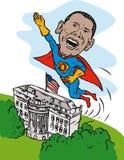 Obama como casa del blanco del super héroe Imagenes de archivo