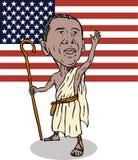 Obama como o redeemer com bandeira Imagens de Stock Royalty Free