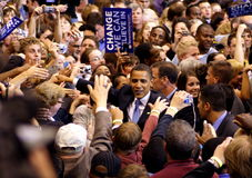 Obama Declares Victory In St. Paul, MN. ST. PAUL, MN - JUNE 3: Supporters reach out for Democratic presidential hopeful Sen. Barack Obama (D-IL) during a rally royalty free stock photos