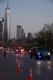 Obama en el tráfico de Nueva York, en la oscuridad Fotografía de archivo libre de regalías