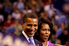 Obama erklärt Sieg in St Paul, Mangan Lizenzfreie Stockbilder