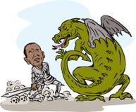 Obama fighting a dragon. Illustration of Obama fighting a dragon Stock Image