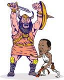 Obama fighting Goliath. Illustration of Obama fighting Goliath Stock Photos