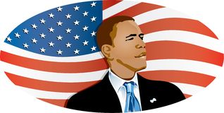 Obama Flag. Barack Obama medium shot on position lateral body watching towards the right with suit and necktie with the US flag in the back Royalty Free Stock Photography