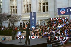 Obama giving a speech from a stage Royalty Free Stock Image