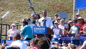 Obama i Asheville Royaltyfri Bild