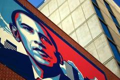 Obama Illustration. Large red, white, and blue illustration of Barack Obama on side of building stock photography