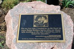 Obama Kissing Stone, Chicago. The Obama Kissing Stone marks the spot where former President Barack Obama first kissed his wife, Michelle. It is found in Chicago` stock photos
