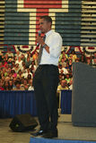 Obama in Kokomo 79. Obama listens to questions in a town hall meeting Royalty Free Stock Photos
