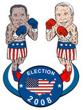 Obama and McCain. Vector art of Obama and McCain as democrat and republican boxers retro poster style Royalty Free Stock Photography