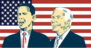 Obama and McCain. John McCain  and Barack Obama portrait with flag in the background Stock Photos