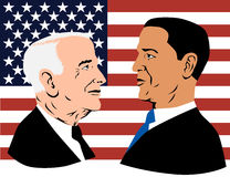 Obama and McCain. John McCain  and Barack Obama portrait with flag in the background Royalty Free Stock Photography