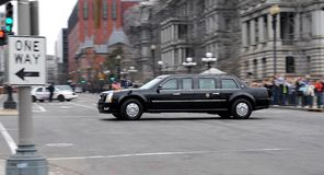 Obama on the move. This is the presidential limousine (Barack Obama is on board). It leaves the White House Royalty Free Stock Photography