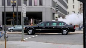 Obama on the move II. This is the presidential limousine (Barack Obama is on board). It leaves the White House Stock Image