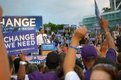 Obama no parque de Bayfront, Miami, outubro 22.2008 fotografia de stock