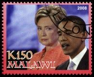 Obama och Clinton Postage Stamp från Malawi Arkivfoto