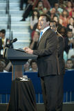 Obama Rathaus mit Schwarzenegger u. Villaraig Stockfoto