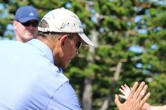 Obama som spelar golf Hawaii Arkivbild