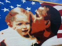 Obama väggmålning Fotografering för Bildbyråer