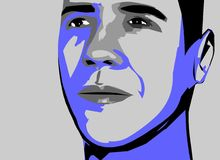 Obama vector. Artwork of obama. grays and blues against grey background Stock Image