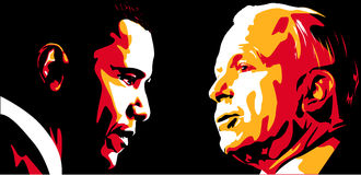 Obama vs McCain. Abstract vector illustration of Barack Obama and John McCain over black Royalty Free Stock Photography