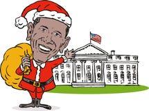 Obama Weihnachtsmann Weißhaus Stockbild
