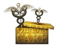 Obamacare ask med politiska medicinska symboler - illustration 3D Arkivbilder