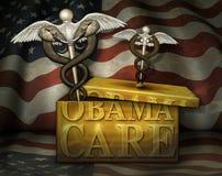 Obamacare ask med politiska medicinska symboler - illustration 3D Royaltyfria Bilder