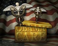 Obamacare Box with Political Medical Symbols - 3D Illustration Royalty Free Stock Images