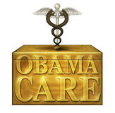 Obamacare Box with Political Medical Symbols - 3D Illustration Royalty Free Stock Image