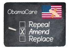 Obamacare concept using chalk on slate blackboard Royalty Free Stock Photography