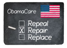 Obamacare concept using chalk on slate blackboard. Obamacare health plan choice of repair written in chalk on a chalky natural slate blackboard Stock Photos