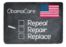 Obamacare concept using chalk on slate blackboard. Obamacare health plan choice of repair written in chalk on a chalky natural slate blackboard isolated against Royalty Free Stock Images