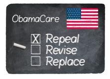 Obamacare concept using chalk on slate blackboard Royalty Free Stock Images