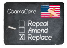 Obamacare concept using chalk on slate blackboard Royalty Free Stock Image
