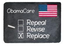 Obamacare concept using chalk on slate blackboard Royalty Free Stock Photos
