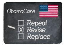 Obamacare concept using chalk on slate blackboard Stock Image
