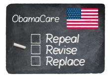 Obamacare concept using chalk on slate blackboard Royalty Free Stock Image