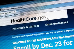 ObamaCare healthcare.gov website. CALDWELL, IDAHO/USA - DECEMBER 6: View of the healthcare.gov website in Caldwell, Idaho on December 6, 2013. Healthcare.gov is Royalty Free Stock Image