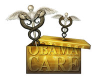 Obamacare-Kasten mit politischen medizinischen Symbolen - Illustration 3D Stockbilder