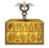 Obamacare-Kasten mit politischen medizinischen Symbolen - Illustration 3D Lizenzfreies Stockbild