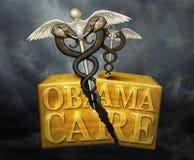 Obamacare-Kasten mit politischen medizinischen Symbolen - Illustration 3D Stockfotografie