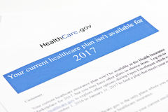 ObamaCare Premium Increase Letter. Obamacare ACA notification letter from insurance company to customer of increase in premium.  Document created by photographer Stock Photography