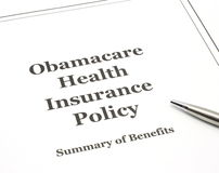 Obamacare ready to be signed. Obamacare government health care insurance program policy with a pen ready to be signed Royalty Free Stock Images