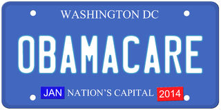 Obamacare Washington DC License Plate Royalty Free Stock Image