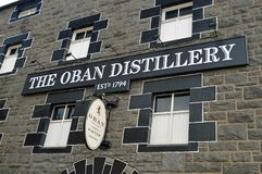 The Oban Distillery Scotland. Oban distillery is a whisky distillery in the Scottish west coast port of Oban. Established in 1794, it was built before the town royalty free stock photo