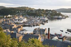 Oban Harbor in Scotland. UK in Evening Light Royalty Free Stock Images