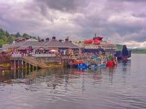 Oban harbour. Ferry waiting to depart at Oban harbour, Oban, Scotlland, UK Stock Image
