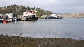 Oban harbour Scotland uk Scottish west coast port in spring pan stock footage