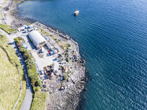 Oban Scotland - May 16 2017: Aerial view of the buildings close to the Puffin dive center. OBAN SCOTLAND - MAY 16 2017: Aerial view of the buildings close to the stock photo
